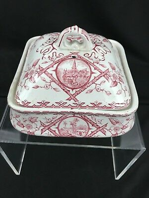Early Minton China Antique England Regency Butter Dish Plate 3 Piece Pink c1868