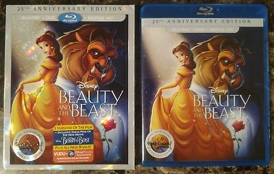Beauty and the Beast Blu-ray + DVD 2-Disc Set 25th Anniversary Ed w Slipcover