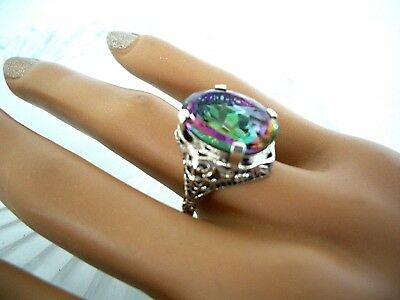 16Ct Mystic Topaz   Ring   ~  Antique Victorian Style  ~  Sterling Silver 925