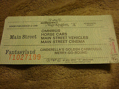 "Disneyworld Ticket Adult ""A"" Ticket With  6 Ride Choices Mid 1970'S T1027199"