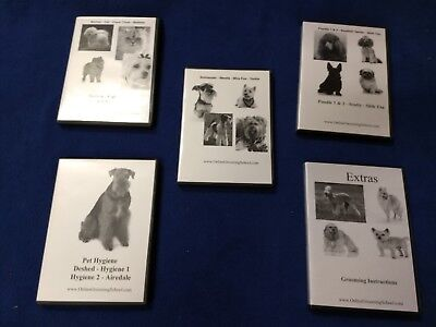 Dog grooming dvds, 20 dvds included on different breeds and grooming aspects.