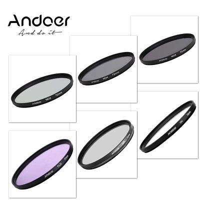 Andoer 72mm UV CPL FLD ND Photography Filter Kit Circular-Polarizing Neutral