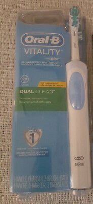 Oral-B Braun Vitality Dual Clean Electric Rechargeable Power Toothbrush + Timer