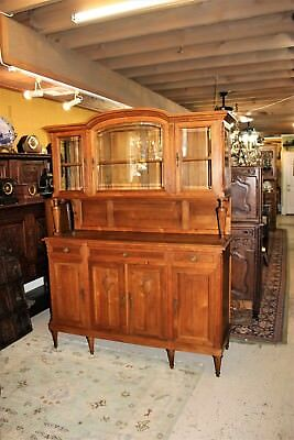 French Antique Oak Tall Louis XVI Glass Door Buffet Hutch Sideboard Furniture