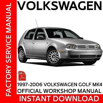 Volkswagen VW Golf MK4 IV Official Workshop Manual  97 - 06  1.6,1.8,2.8L 1.9TDI
