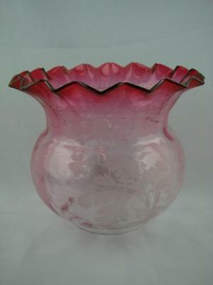 Antique Cranberry Glass Duplex Oil Lamp Shade Etched Art Nouveau Foliate Decor