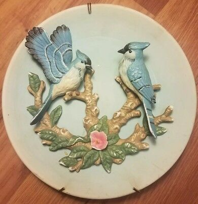 "3D Vintage World Bazaars 10"" Flying Blue Birds Wall Plate. Ceramic. Rare! 1960s"
