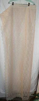 Vintage Ivory Lace Rectangular Floral Tablecloth 52 X 66 Inches