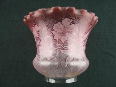 "Lovely Small Antique Oil Lamp Shade, Cranberry & Moulded Etched Glass, 3"" Fitter"