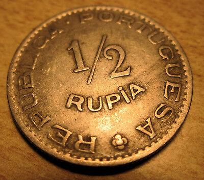 Portugal-Portuguese India One Half Rupia Coin (VF) 1952