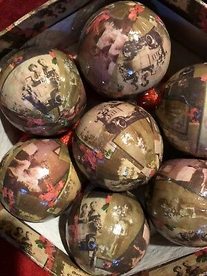 Vintage Paper Mache Decoupage Round Balls Old Fashion Christmas 2 Sets Of 7 (14)