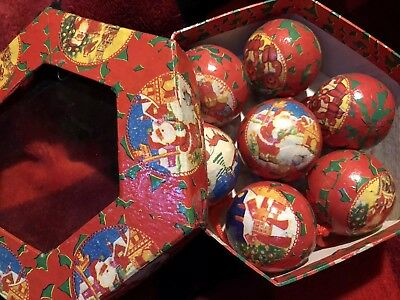 Vintage Paper Mache Decoupage Round Balls Old Fashion Santa Christmas Set Of 7