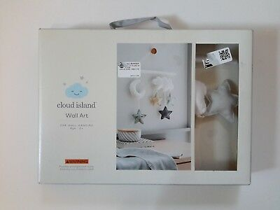 Cloud Island Nursery Wall Art Hanging Moon Stars and Clouds - New