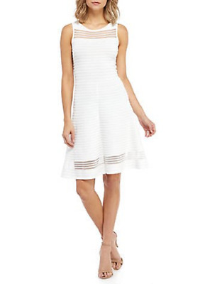 fe095abc522 Nwt French Connection White Viscose Fit And Flare Jersey Dress Size 12  158