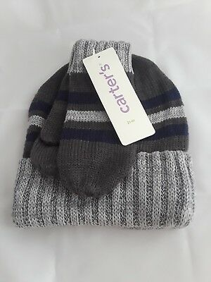 Carter's Boys 2t-4t Toddler Winter Hat and Glove Set Gray Blue Green Striped New