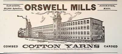 1904 Ad(H9)~Orswell Mills. Fitchburg, Mass. Combed Cotton Yarn Mill