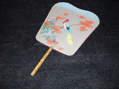 Bamboo & Silk Painted Asian Hand Fan.  Wire-framed stretched silk, hand-painted