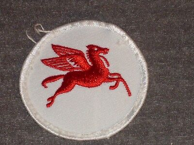 "Vintage Mobil Gas Logo Patch.  Cloth 2 1/2"" colorful red flying horse on white"