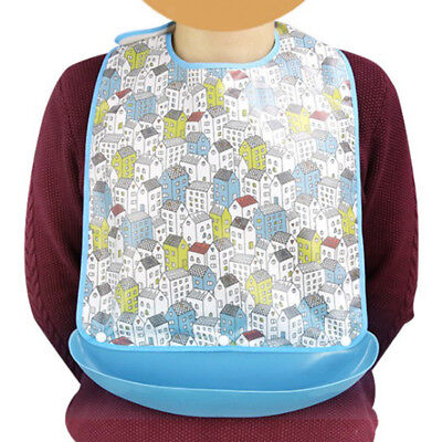Reusable Washable Adult Bib Clothing Mealtime Protector Apron Easy Take on Off