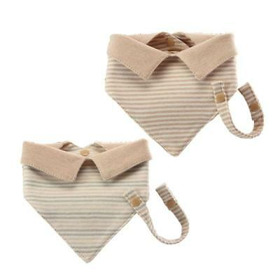 Baby Infant Toddler Cotton Triangle Bibs Saliva Towel w/ Pacifier Clip Lin