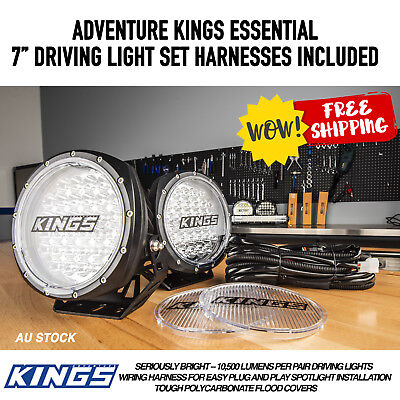 "7"" Driving Light Set  free Wiring Harness & Covers"
