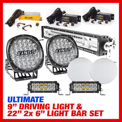 "Adventure Kings Ultimate 9"" Driving Light, 22"" & 2x 6"" Light Bar Set Harness Inc"