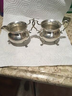 LR Sterling Silver  Creamer And Sugar Bowl