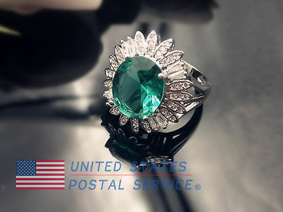 Women Ring 925 Silver Plated Elegant Wedding Engagement Jewelry Size 6-10 Flower