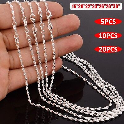"""20/10/5Pcs 925 Sterling Silver Plated Wave Chain Necklace 16""""-30"""" 2MM Wholesale!"""