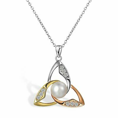 925 Sterling Silver Good Luck Triangle Celtic Knot CZ Pearl Pendant Necklace