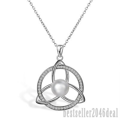 925 Sterling Silver Vintage Celtic Knot CZ Round Lucky Irish Pendant Necklace