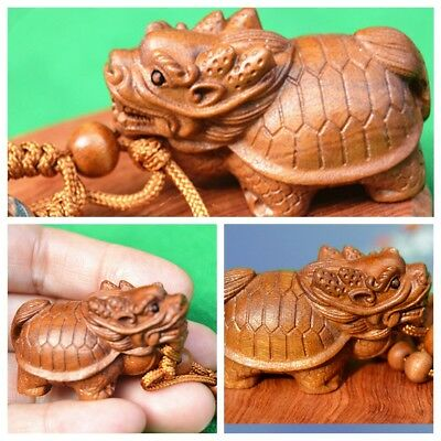 Chinese Wealth Sculpture Dragon Turtle Statue Wood 3D Carving Pendant Key Chain