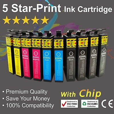 10 Ink Cartridges for Epson 220XL XP-320 XP-324 XP-420 WF-2630 WF-2650 with chip