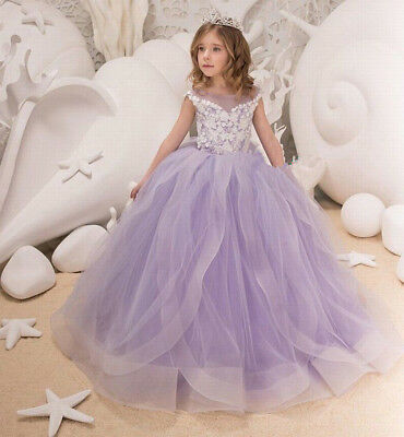 Flower Kids Girl Dress Princess Baby Lace Floral Party Pageant Dresses 1-16Y