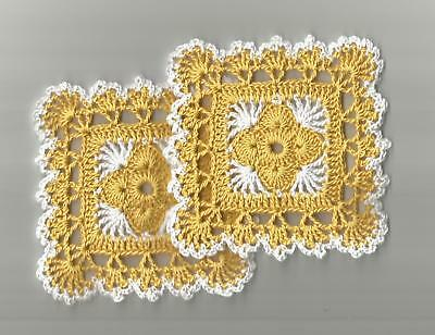"""2 Crochet Doilies Doily Lace 4"""" Golden Yellow and White"""