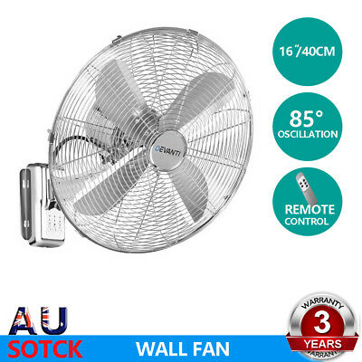 "Devanti 40cm 16"" Wall Mountable Fan Oscillating Remote Control Timer Silver"