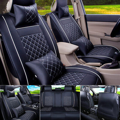 Deluxe 5-Seats Car Seat Covers Universal Front & Rear Seat w/ 4 Bonus Pillows