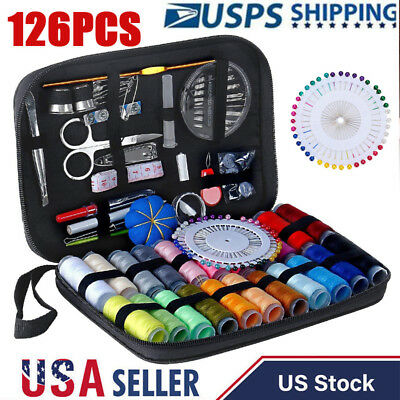 126Pcs/Kit Sewing Kit Scissors Needle Thread For Home Stitching Hand Sewing Tool
