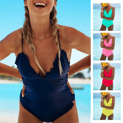 Women's Ruffled Padded Swimsuit One Piece Swimwear Bikini Beachwear Sun Bathing
