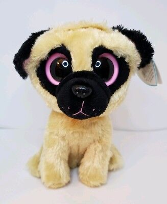 """294f9b3461e Ty Beanie Boos Pugsly the Pug Dog 2012 Purple Tag Solid Eyes Regular 6""""  MWNMT"""