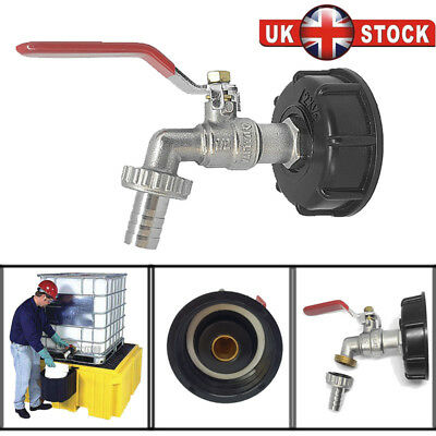 """IBC Tank Adapter S60X6 To Brass Garden Tap With 1/2"""" Hose Fitting Oil Water Fuel"""