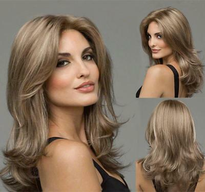 US Fashion Women's Short Brown Blonde Natural Wavy Cosplay Hair Full Wigs