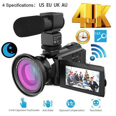 WiFi 4K HD 1080P 48MP Digital Video Camera Camcorder+Microphone+Wide Angle Lens