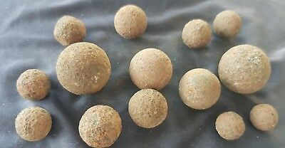 Poignant Waterloo battle rare lot of mixed sized iron grape shot as found. L86a