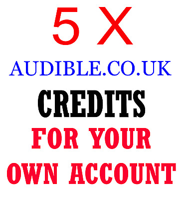 5x Audible.co.uk Book credits for your own/existing account any book any price