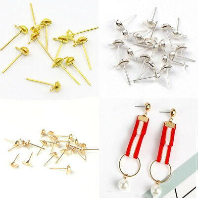 50/300PCS Plated Metal Post Earring Findings, Studs With Half Ball & Closed Loop