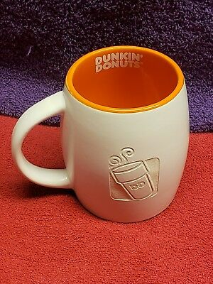 Dunkin' Donuts Coffee Cup Mug 14 Oz White Orange Inside w/White Lettering 2012