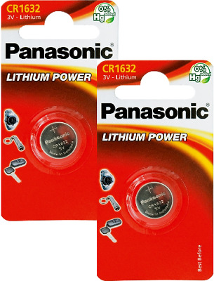 TWO Panasonic CR1632 ECR1632 DL1632 3v Lithium Battery Free 1st class P&P