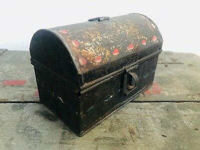 1800s Antique Hand Painted Toleware Floral Tin Document Box Dome Top