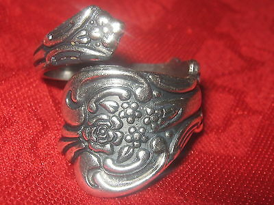 Vintage Style Silver  Rose Floral Spoon Ring Sizes 10-11 Adjustable Rings